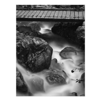 Wood Bridge and Moving Water in the Forest Photo Print