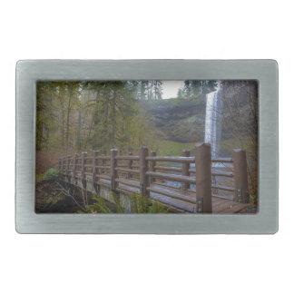 Wood Bridge at Silver Falls State Park Rectangular Belt Buckle