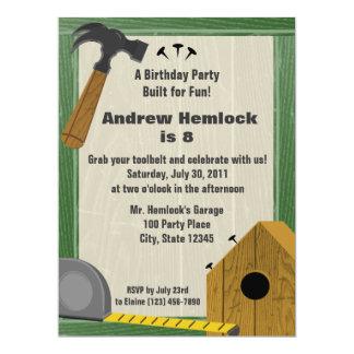 Wood Building Fun Birthday 17 Cm X 22 Cm Invitation Card
