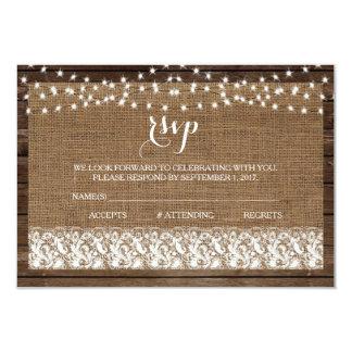 Wood Burlap Lace Lights Rustic Wedding RSVP Cards