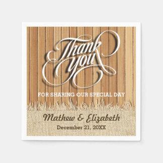 Wood Burlap Thank You Wedding Disposable Serviettes