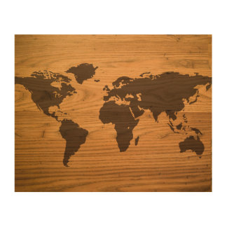 Wood Burned World Map Wood Wall Decor
