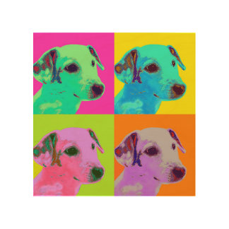 Wood canvas. Dog, Jack Russels Terrier. Popart Wood Wall Decor