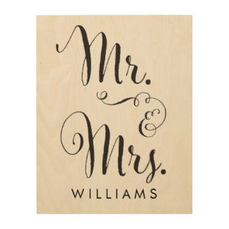 Wood Canvas Mr. & Mrs. Art Print
