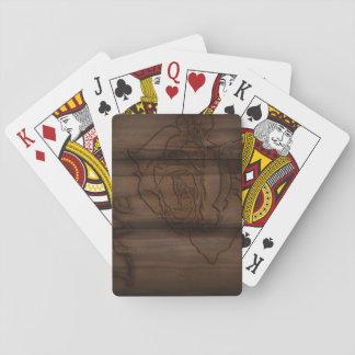 Wood Carved Rose Poker Deck