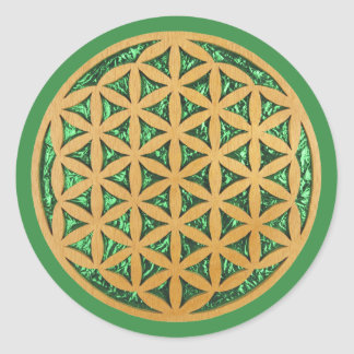 Wood Carving Scroll Saw Art of Flower of Life Round Sticker