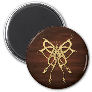 Wood Celtic Butterfly 6 Cm Round Magnet