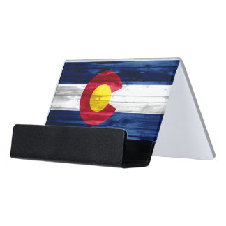Wood Colorado flag business card holder