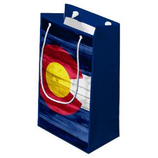Wood Colorado flag small gift bag
