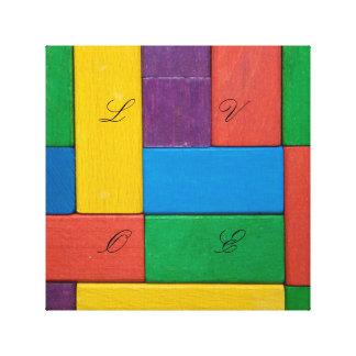 Wood,colorful,building blocks,kids,fun,happy,retro canvas print
