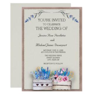Wood Crates / Boxes Lavender Wedding Invitations
