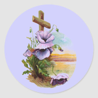 Wood Cross With Purple Flowers Classic Round Sticker