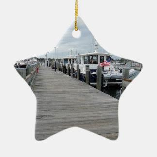 Wood dock in Stonington Connecticut Ceramic Ornament