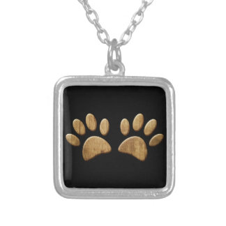 Wood Dog Paw Print Silver Plated Necklace
