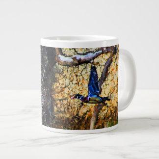 Wood Duck in Flight Large Coffee Mug