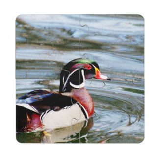 Wood Duck Puzzle Coaster
