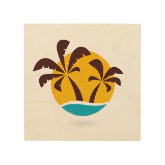 Wood elegant board with Palm trees Wood Print