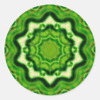 WOOD Element kaleido pattern Classic Round Sticker