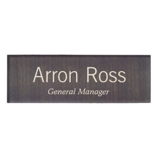 Wood Employee Staff Magnetic Name Tag Badge