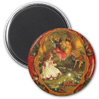 Wood Fairies 6 Cm Round Magnet