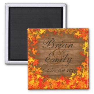 Wood fall autumn leaves custom wedding magnets