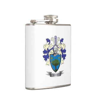 Wood Family Crest Coat of Arms Hip Flask