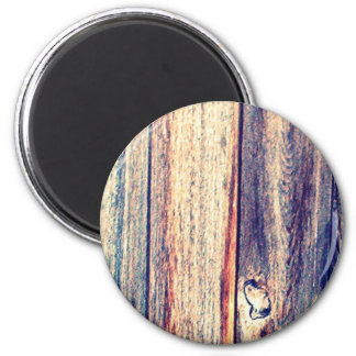 Wood Fence Round Magnet | Natural Texture | Brown