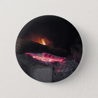 Wood fire flame heat spires burning in fireplace 6 cm round badge