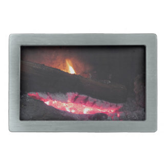 Wood fire flame heat spires burning in fireplace belt buckle