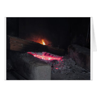 Wood fire flame heat spires burning in fireplace card