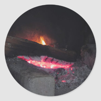 Wood fire flame heat spires burning in fireplace classic round sticker