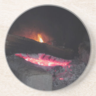 Wood fire flame heat spires burning in fireplace coaster