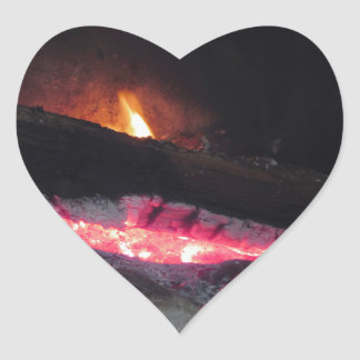 Wood fire flame heat spires burning in fireplace heart sticker