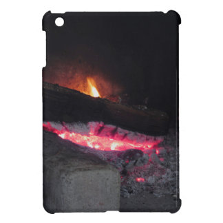Wood fire flame heat spires burning in fireplace iPad mini cover