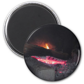 Wood fire flame heat spires burning in fireplace magnet
