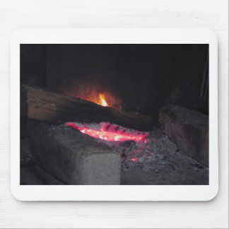 Wood fire flame heat spires burning in fireplace mouse pad