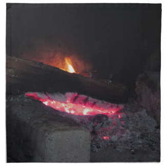 Wood fire flame heat spires burning in fireplace napkin