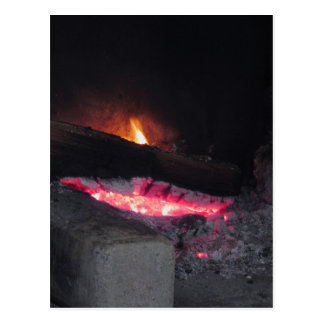 Wood fire flame heat spires burning in fireplace postcard