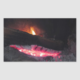 Wood fire flame heat spires burning in fireplace rectangular sticker