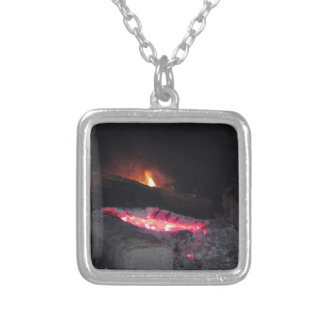 Wood fire flame heat spires burning in fireplace silver plated necklace