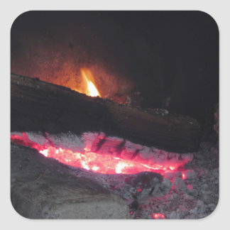 Wood fire flame heat spires burning in fireplace square sticker
