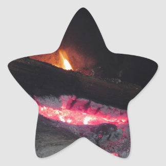 Wood fire flame heat spires burning in fireplace star sticker