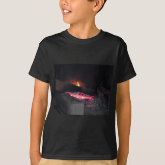 Wood fire flame heat spires burning in fireplace T-Shirt
