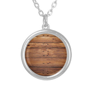 wood floor silver plated necklace