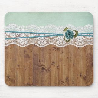 Wood Floral Lace Elegant Mouse Pad