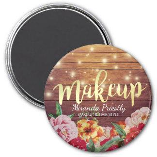 Wood Floral String Lights Gold Script Makeup Salon Magnet