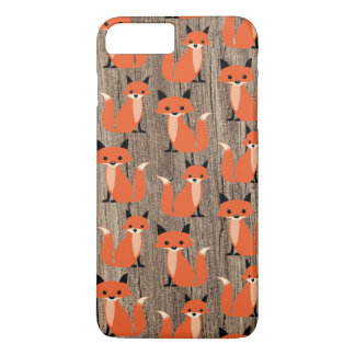 Wood fox cute retro whimsical hipster foxes vintag iPhone 7 plus case
