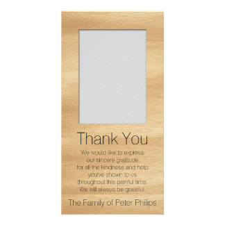 Wood Frame Template Add image Sympathy Thank You Customised Photo Card