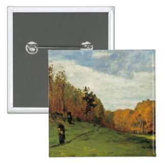 Wood Gatherers at the Edge of the Forest 15 Cm Square Badge