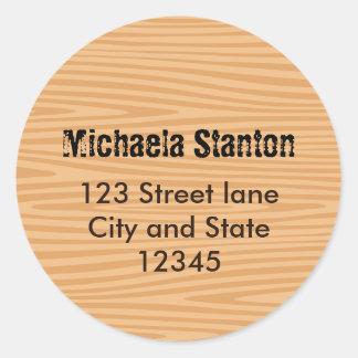 Wood grain address label sticker